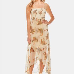 VINCE CAMUTO Floral Smocked Faux Wrap Dress
